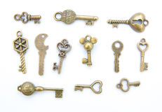 Изолированное собрание старого ключа Стоковые Изображения RF