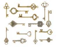 Изолированное собрание старого ключа Стоковая Фотография RF