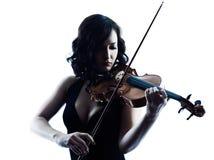 Изолированное slihouette женщины скрипача Стоковая Фотография