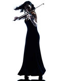 Изолированное slihouette женщины скрипача Стоковые Изображения