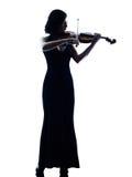 Изолированное slihouette женщины скрипача Стоковое Фото