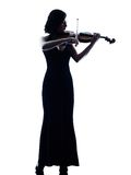 Изолированное slihouette женщины скрипача Стоковое Изображение