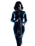 Изолированное slihouette женщины скрипача Стоковые Фото
