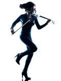 Изолированное slihouette женщины скрипача Стоковые Фотографии RF