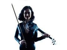 Изолированное slihouette женщины скрипача Стоковое Изображение RF