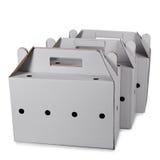 3 изолированной картонной коробки Стоковые Фото