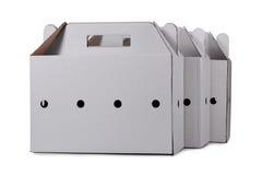 3 изолированной картонной коробки Стоковое Фото
