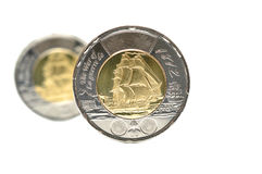 2 изолированной монетки доллара Стоковое Изображение RF