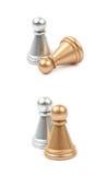 2 изолированной пешки шахмат Стоковая Фотография