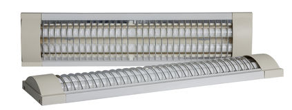2 изолированной люминесцентной лампы на белой предпосылке Стоковое Изображение RF