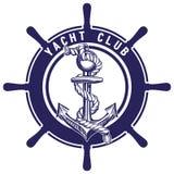 Изолированные анкер и колесо emblem эскиз иллюстрации вектора символа знака Стоковое Фото