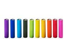 Изолированные батареи щелочных аккумуляторов другого цвета Стоковое Изображение