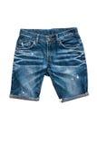 Изолированные брюки голубых джинсов короткие стоковые фотографии rf