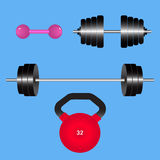 Изолированные весы спортзала Kettlebell, гантель, диск штанги также вектор иллюстрации притяжки corel Стоковые Фото