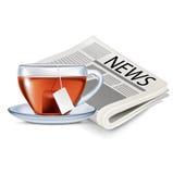 Изолированные газета и чашка чаю Бесплатная Иллюстрация