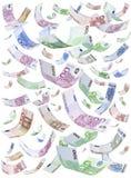 Изолированные евро идя дождь падать Стоковые Фото