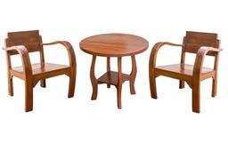 Изолированные деревянный стол и стул Стоковые Фото