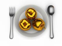 Изолированные золотые яблоки Стоковое Фото