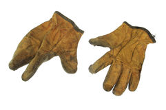 Изолированные используемые работая перчатки Стоковое Изображение RF