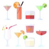 Изолированные коктеили в плоском стиле Стоковое фото RF
