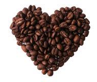 Изолированные кофейные зерна в форме сердца Стоковое Фото