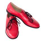 Изолированные красные ботинки Оксфорда Стоковые Изображения