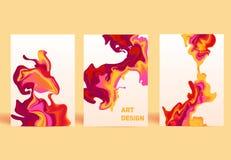 Изолированные красочные абстрактные жидкостные чернила Современные тенденции стиля Стоковая Фотография RF