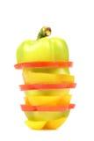 Изолированные куски красочного болгарского перца Стоковая Фотография RF