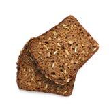Изолированные куски черного хлеба Стоковые Фото