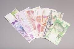 Изолированные международные валюты Стоковые Изображения RF