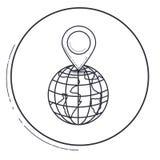 Изолированные метка gps и дизайн планеты иллюстрация вектора