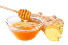 Изолированные мед и имбирь Стоковое Изображение RF