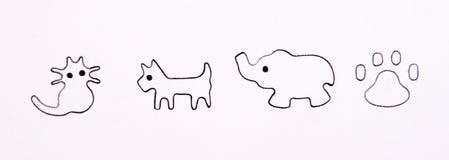 Изолированные млекопитающиеся значки Стоковое Фото