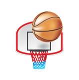 Изолированные панель и шарик баскетбола Иллюстрация штока