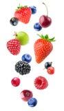 Изолированные падая ягоды Стоковая Фотография