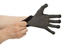 Изолированные перчатки черной поковки Стоковое Фото