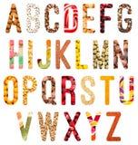 Изолированные письма алфавита еды Стоковые Фотографии RF