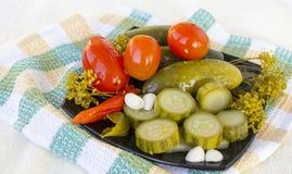 изолированные предпосылкой замаринованные овощи плиты белые стоковые фотографии rf