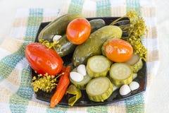 изолированные предпосылкой замаринованные овощи плиты белые стоковые изображения