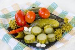 изолированные предпосылкой замаринованные овощи плиты белые стоковая фотография