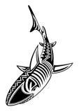 Изолированные племенные рыбы акулы татуировки Стоковое Фото