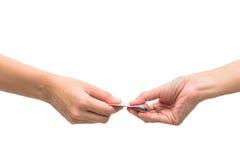Изолированные руки и ладони изолированные на белой предпосылке с одной банкнотой стоковые фотографии rf