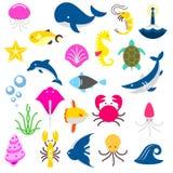 Изолированные рыбы и звери от моря, акула, краб, осьминог, dolphine, кит, черепаха, рыба, calmar, медузы иллюстрация штока