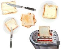 Изолированные сандвичи и тостер хлеба с маслом Стоковая Фотография RF