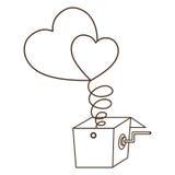 Изолированные сердце и дизайн коробки иллюстрация штока