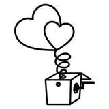 Изолированные сердце и дизайн коробки иллюстрация вектора