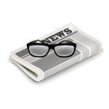 Изолированные стекла и газета Бесплатная Иллюстрация