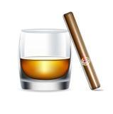 Изолированные стекло и сигара вискиа иллюстрация вектора