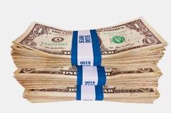 Изолированные стога наличных денег Стоковая Фотография
