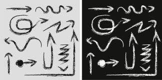 Изолированные стрелки вектора нарисованные рукой установили на белую предпосылку Стоковые Изображения RF